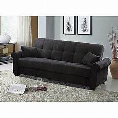 meridian microfiber convertible sofa with storage black