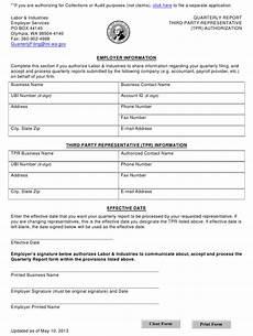 Blank 3rd Party Authorization Form Washington Quarterly Report Third Party Representative