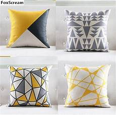 nordic style cushion cover gray yellow decorative pillows