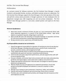 Job Description For A Shop Assistant Sample Store Manager Job Description 10 Examples In Pdf