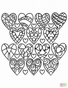 hearts pattern coloring page free printable coloring pages