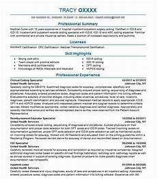 Coding Resume Clinical Coding Specialist Resume Sample Livecareer