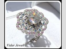 Platinum Diamonds Flower Engagement Ring   Vidar Jewelry