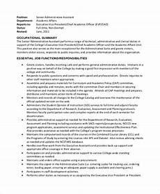 Senior Executive Assistant Job Description Free 9 Sample Administrative Assistant Job Descriptions