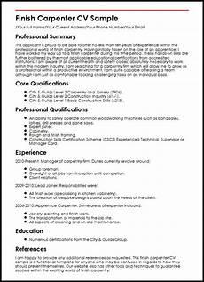 Carpenters Resume Finish Carpenter Cv Sample Myperfectcv