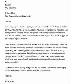 Advisor Cover Letter Free 8 Sample Academic Advisor Cover Letter Templates In
