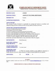 Resume For Teaching Position Template Preschool Teacher Resume Samples Sample Resumes