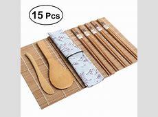 15pcs/set Bamboo Sushi Making Kit Includes 2 Sushi Rolling