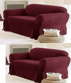 solid suede covers 3 burgundy slipcover set