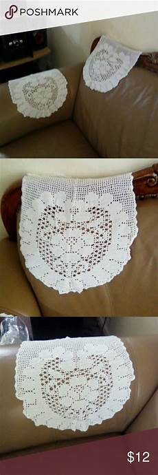 decorative crochet chair arm back rest a pair of white
