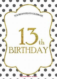 Birthday Invitations Free Templates Free 13th Birthday Invitations Templates Drevio