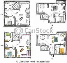 Apartment Furniture Planner Apartment Plan With Furniture Vector Sketch