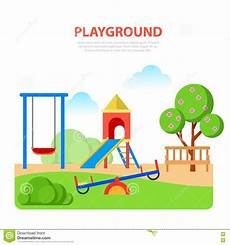 Playground Templates Flat Style Modern Playground In Park Template Slide