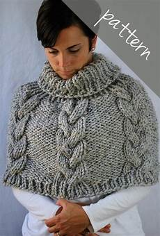 knitting pattern braided cable poncho cape chunky cape