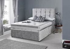 memory foam crushed velvet divan bed set mattress
