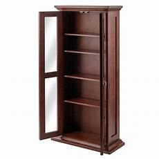 winsome wood cd dvd cabinet with glass doors