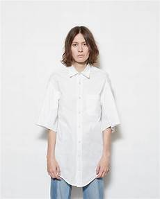 white button up shirt sleeve lyst vetements sleeve button up shirt in white