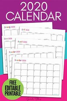 Calendars Printable Custom Editable 2020 Free Printable Calendars Titus