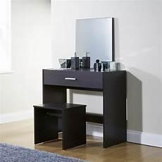 simple espresso dressing table set vanity desk stool