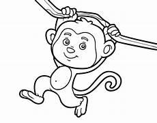 Mono Para Colorear Dibujo De Mono Colgado De Una Rama Para Colorear Dibujos Net