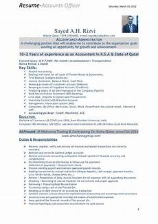 Resume For Account Resume Of Accounts Officer