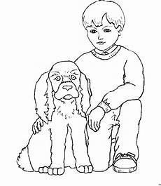 junge und hund ausmalbild malvorlage kinder