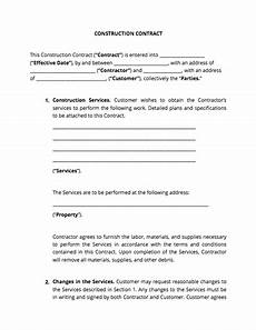 Construction Contract Free Download Contract Templates And Agreements With Free Samples
