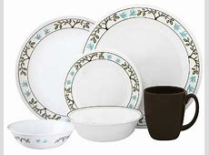 Corelle TREE BIRD 24pc DINNERWARE SET *Nature GREEN BROWN
