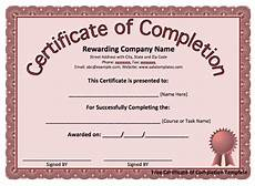 Certification Of Completion Template Certificate Templates