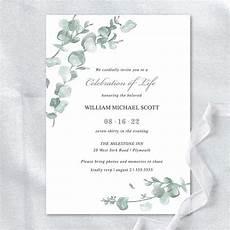 Funeral Invitation Sample Memorial Service Invitation Templates Eucalyptus Greenery