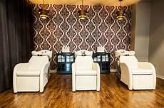 Hair Salon Light Fixtures Velvet Flocked Wallpaper Brass Light Fixtures And Navy