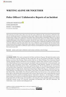 How To Write A Police Report On An Incident Pdf Writing Alone Or Together Police Officers