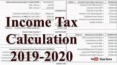 Income Tax Calculation Chart Income Tax 2019 20 Calculation Excel Sheet Youtube