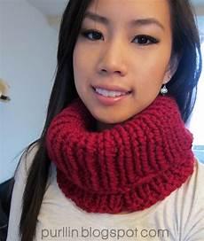 purllin knit cowl neck warmer free knitting pattern