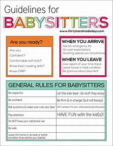 How To Write An Ad For Babysitting Guidelines For Babysitters Thirty Handmade Days