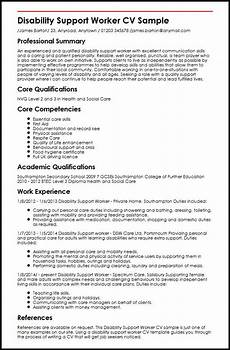Care Worker Personal Statement Disability Support Worker Cv Example Myperfectcv