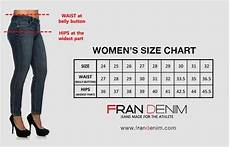 Waist Size Chart For Women S Jeans Sizing Fran Denim