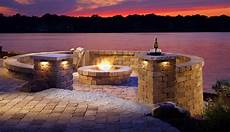 Stone Outdoor Lighting How To Use Belgard Walls To Create Intimacy In Any Outdoor