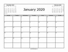 12 Months Calendar 2020 Printable January 2020 Calendar Starting With Monday Printable
