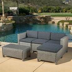 outdoor 5 grey wicker sectional sofa set with black