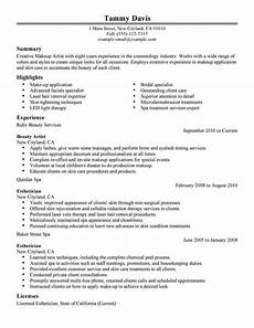 Resume Examples Experience Beauty Artist Resume Sample No Experience Resumes