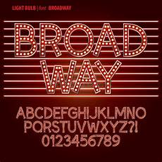 Stheititc Light Font Red Broadway Light Bulb Alphabet And Digit Vector Stock