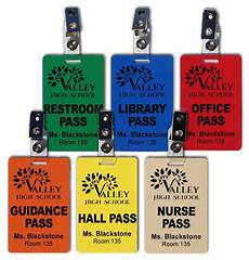 Hall Passes Hall Pass Set Of 6 Plastic Hall Pass Cards With Clips