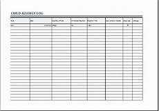 Allergy Chart For Child Care Child Allergy Log Template For Excel Printable Medical