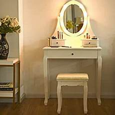 white vanity set vanity table with led lights
