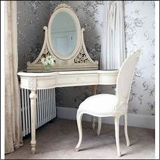 distressed wooden corner vanity table for bedroom in white