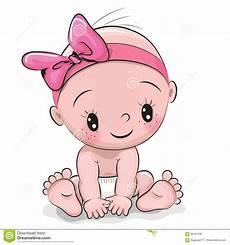 Baby Cartoons Free Cute Cartoon Baby Girl Stock Vector Illustration Of