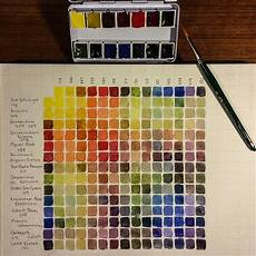 Daniel Smith Watercolor Paint Chart Completed Color Combination Chart For Newly Poured Daniel