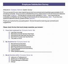Employee Satisfaction Survey Example Free 16 Sample Employee Satisfaction Survey Templates In