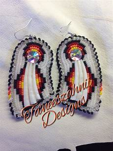 american beaded dentalium earrings pow wow style